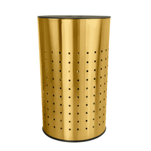 Krugg  50L Ventilated Brushed Gold Laundry Bin & Hamper - Stainless Steel Clothes Basket With MDF Lid