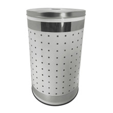 50 Liter Ventilated White and Polished Stainless Steel Laundry Bin & Hamper - Clothes Basket with Lid by Krugg