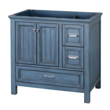 "Foremost BABV3622D 36"" Brantley Vanity Cabinet 2 Doors, 3 Drawers, 1 Interior Adjustable Shelf - Harbor Blue"