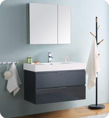 """Fresca Senza Valencia 36"""" Dark Slate Gray Wall Hung  Bathroom Vanity w/ Medicine Cabinet"""