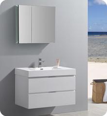 "Fresca Senza Valencia 36"" Glossy White Wall Hung  Bathroom Vanity w/ Medicine Cabinet"