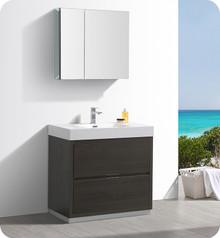 """Fresca Senza Valencia 36"""" Gray Oak Free Standing  Bathroom Vanity w/ Medicine Cabinet"""