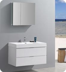 "Fresca Senza Valencia 40"" Glossy White Wall Hung  Bathroom Vanity w/ Medicine Cabinet"