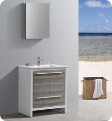"""Fresca Trieste Allier Rio 30"""" Ash Gray  Bathroom Vanity w/ Medicine Cabinet"""