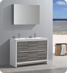 """Fresca Trieste Allier Rio 48"""" Ash Gray Double Sink  Bathroom Vanity w/ Medicine Cabinet"""