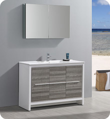"Fresca Trieste Allier Rio 48"" Ash Gray Single Sink  Bathroom Vanity w/ Medicine Cabinet"