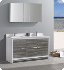 """Fresca Trieste Allier Rio 60"""" Ash Gray Double Sink  Bathroom Vanity w/ Medicine Cabinet"""