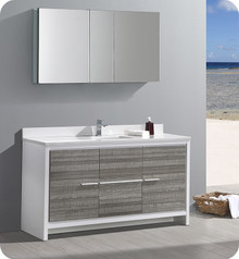 "Fresca Trieste Allier Rio 60"" Ash Gray Single Sink  Bathroom Vanity w/ Medicine Cabinet"