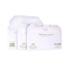 Alpine ALPP400  Flushable Toilet Seat Covers in 3, 250-sheet packs - White