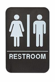 Alpine ALPSGN-1  Unisex Restroom Sign, Black/White, ADA Compliant
