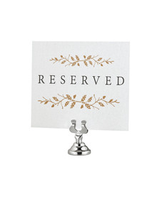 Alpine 494-12-CRM Place Card & Table Number Holders, 12 Pack - Chrome
