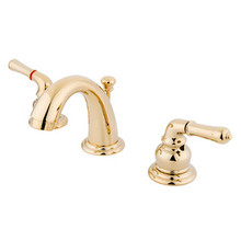 "Kingston Brass Two Handle 4"" to 8"" Mini Widespread Lavatory Faucet with Pop-Up Drain Drain - Polished Brass KB912"