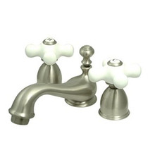 "Kingston Brass Two Handle 4"" to 8"" Mini Widespread Lavatory Faucet with Brass Pop-Up Drain - Satin Nickel KS3958PX"