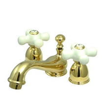 "Kingston Brass Two Handle 4"" to 8"" Mini Widespread Lavatory Faucet with Brass Pop-Up Drain - Polished Brass KS3952PX"