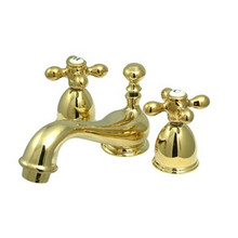 "Kingston Brass Two Handle 4"" to 8"" Mini Widespread Lavatory Faucet with Brass Pop-Up Drain - Polished Brass KS3952AX"