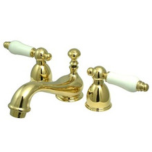 "Kingston Brass Two Handle 4"" to 8"" Mini Widespread Lavatory Faucet with Brass Pop-Up Drain - Polished Brass KS3952PL"