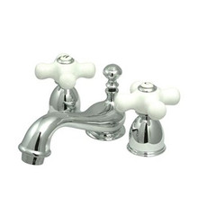 "Kingston Brass Two Handle 4"" to 8"" Mini Widespread Lavatory Faucet with Brass Pop-Up Drain - Polished Chrome KS3951PX"