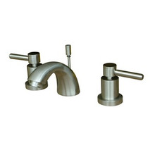 "Kingston Brass Two Handle 4"" to 8"" Mini Widespread Lavatory Faucet with Brass Pop-Up Drain - Satin Nickel KS2958DL"