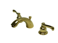 "Kingston Brass Two Handle 4"" to 8"" Mini Widespread Lavatory Faucet with Brass Pop-Up Drain - Polished Brass KB8952FL"