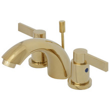 "Kingston Brass Two Handle 4"" to 8"" Mini Widespread Lavatory Faucet with Brass Pop-Up Drain - Polished Brass KB8952NDL"