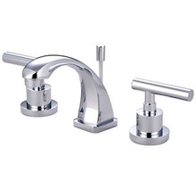 "Kingston Brass Two Handle 4"" to 8"" Mini Widespread Lavatory Faucet with Brass Pop-Up Drain - Polished Chrome KS4941CML"