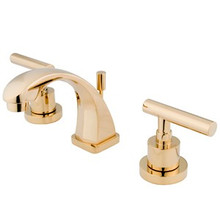 "Kingston Brass Two Handle 4"" to 8"" Mini Widespread Lavatory Faucet with Brass Pop-Up Drain - Polished Brass KS4942CML"