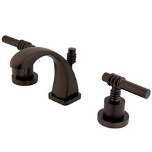 "Kingston Brass Two Handle 4"" to 8"" Mini Widespread Lavatory Faucet with Brass Pop-Up Drain - Oil Rubbed Bronze KS4945ML"