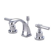 "Kingston Brass Two Handle 4"" to 8"" Mini Widespread Lavatory Faucet with Brass Pop-Up Drain - Polished Chrome KS4941ML"