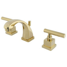 "Kingston Brass Two Handle 4"" to 8"" Mini Widespread Lavatory Faucet with Brass Pop-Up Drain - Polished Brass"