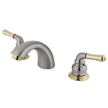 "Kingston Brass Two Handle 4"" to 8"" Mini Widespread Lavatory Faucet - Satin Nickel/Polished Brass"