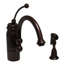 Whitehaus 3-3170-ORB New Horizon Single Handle Kitchen Faucet with Curved Extended Stick Handle, Curved Spout and Side Spray - Oil Rubbed Bronze