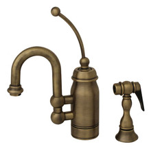 Whitehaus 3-3178-AB Baby Horizon Single Handle Bar / Prep Faucet with Curved Extended Stick Handle and Curved Spout - Antique Brass