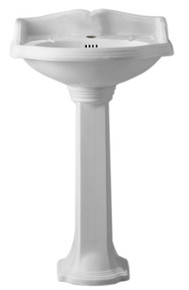 Whitehaus AR814-AR815-1H Isabella Traditional Pedestal with Integrated Oval Bowl, Single Hole Faucet Drilling - White