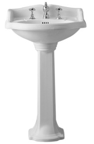Whitehaus AR814-AR815-3H Isabella Traditional Pedestal with Integrated Oval Bowl, widespread Faucet Drilling - White