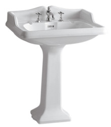 Whitehaus AR834-AR805-3H Isabella Traditional Pedestal with Integrated large Rectangular Bowl, Widespread Faucet Drilling - White