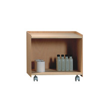 Whitehaus AECB38N Aeri Wood Cart with Two Shelves and Casters - Natural (Birchwood)