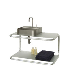 Whitehaus AELA285 Aeri Double Shelf Wall Mount Aluminum Structure with Integral Towel Bar - Aluminum
