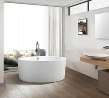 Vanity Art  VA6810 Freestanding White Acrylic Bathtub and Hose 59? x 59? x 24?