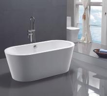 Vanity Art  VA6812-S Freestanding White Acrylic Bathtub and  Hose 59 x 29.5 x 24