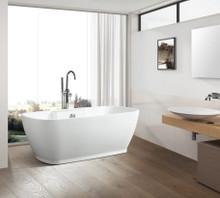 Vanity Art  VA6835-L Freestanding White Acrylic Bathtub and Hose 67.5 x 32 x 23