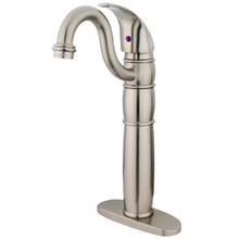 Kingston Brass Single Handle Vessel Sink Faucet with Optional Cover Plate - Satin Nickel KB1428LL