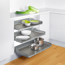 "Richelieu 2132310 Cavare Aluminum Grey Pull-Out Shelf System 33 7/8"" to 34 1/8"" Wide x 19 5/8"" D - Set of 2"