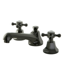 Kingston Brass NS4460BX Two Handle Widespread Lavatory Faucet With Lever Handles & Brass Pop Up Drain - Black Nickel