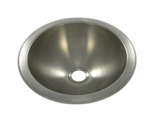 """Opella 18085.046 10"""" Round Bar Sink - Drop In or Undermount - Brushed Stainless"""