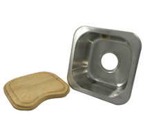 """Opella 13209.046 12"""" X 12"""" Square Undermount or Drop In Bar Sink - Brushed Stainless Steel"""