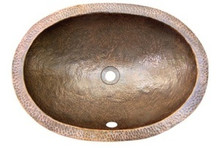 "Houzer Hammerwerks HW-ELI1EF 21"" x 15-1/2"" Ellipse Lav Sink W/Flat Lip-Antique Copper"