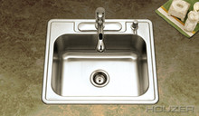 "Houzer 2522-9BS3-1 25"" X 22"" X 9"" One Bowl Kitchen Sink - Three Holes - Stainless Steel"