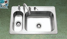 "Houzer Legend LHD-3322-1 33"" X 22"" 80/20 Double Bowl Kitchen Sink & Strainer - Stainless Steel"