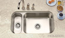 "Houzer Elite EHD-3118-1 31 1/2"" X 17 15/16"" Undermount 80/20 Double Bowl Kitchen Sink & Strainer - Stainless Steel"