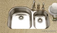 """Houzer Medallion MC-3210SR-1 32 1/2"""" X 20-11/16"""" Undermount 70/30 Double Bowl Kitchen Sink & Strainer - Stainless Steel"""